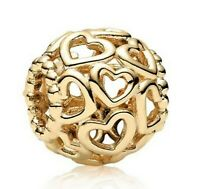 Sterling Silver Bead Charm Gold Color Openwork Open You Heart Beads