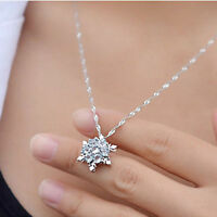 Women Luxury Blue Rhinestone Crystal Snowflake Flower Charm Pendant Necklace
