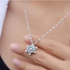 Luxury Blue Rhinestone Crystal Snowflake Frozen Flower Charm Pendant Necklace