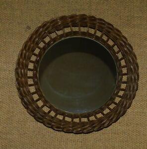ANCIEN GRAND MIROIR ROND SOLEIL EN ROTIN ø 45 cm ANNEES 60 OSIER LOFT SCANDINAVE
