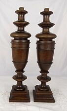 "16.5"" French Antique Pair Carved Wood Trim Posts Pillars Columns Mahogany"