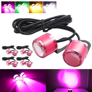 10 Pink Eagle Eye LED Daytime Running DRL Car Rock Strobe Lamp Backup Tail Light