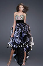 TRENDY HIGH-LOW HEM! FANCY FRILL SKIRT PROM/FORMAL/EVENING; BLACK WHITE AU14US12