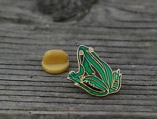 Green Frog Gold Tone Metal & Enamel Lapel Pin Pinback