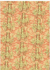 "Kathleen Francour ""Frou Frou"" Fabric Cotton Quilt Wt Peach Yellow 2.6 Yd"