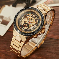 Men's Steampunk Skeleton Stainless Steel Automatic Analog Mechanical Wrist Watch