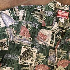 Rjc Hawaii Tropical, Turtles, boats, fish, leaves, Tree Shirt Mens Xl