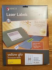 MACO Laser Yellow Glo Fluorescent Labels ML-8301 1 x 2 5/8 Inches, 750 Labels