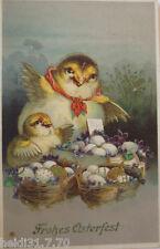 """"""" Pasqua, PULCINI, uova, Cestino """" 1913, stampa ORO (15875)"""