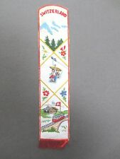 Vintage BOOKMARK Embroidered SWITZERLAND Swiss Alpine Flowers Cable Car Train