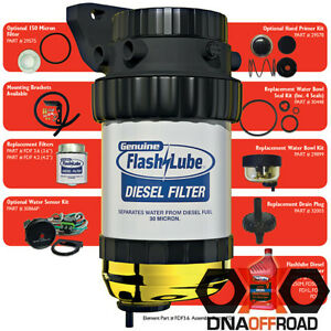 Flashlube diesel filter with 30 micron short filter