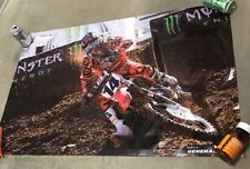Honda motorcycle dirt bike poster race helmet  banner Kevin Windham gloves B112