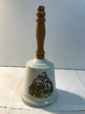 Vintage Limited Edition Norman Rockwell Clown And Boy Porcelain Bell Wood Handle