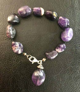 Amethyst Bracelet Natural Gemstone Knotted Strand Sterling Silver Clasp #760