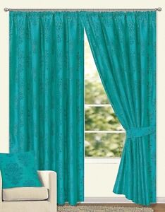 LEMINGTON PREMIUM QUALITY PENCIL PLEAT FLOCKED FULLY LINED CURTAINS TEAL 7 SIZES