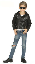 Boys 1950s Faux Leather Jacket Grease Teddy Boy Fancy Dress Costume Book Day 7-9 Years