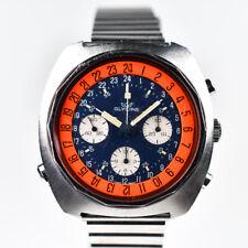 Glicina SST Cronógrafo Dial de 24 horas 43mm Azul Blanco Naranja Dial Valjoux 724