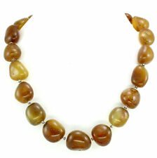 Necklace natural agate gemstone beaded handmade 925 solid sterling silver 147 gm