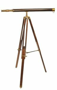 Stand Telescope IN Antique Style, Large Bronze Telescope On Exotic Wood Tripod