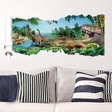 3D View Dinosaur Kids Room Decor Jurassic Park Wall Sticker Decal Mural PVC USA