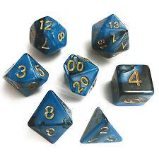 7pcs Set Dice Marble Blue Gold RPG D&D Board Games D4 D6 D8 D10 D12 D20