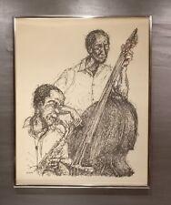 Avrum Rubenstein Lithograph Bass Fiddle and Saxophone