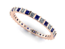 2.50Ct Sapphire Diamond Bar Eternity Wedding Band Ring 14k Rose Gold AAA H SI2