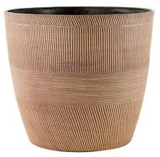 29 Litre Caramel Wood Large Plant Pot Round Tall Plastic Planter Outdoor Garden