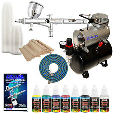 FINE DETAIL Dual-Action AIRBRUSH SYSTEM w/ PAINT KIT Tank Air Compressor