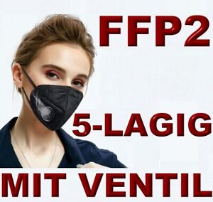 🔥2x FFP2 SCHWARZ VENTIL Atemmaske Staubmaske Maske Filter CE zertifiziert