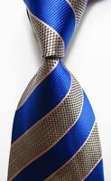 New Classic Striped Blue Black Pink White JACQUARD WOVEN Silk Men's Tie Necktie