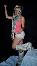 Spirit Hood and Fluffy Set - White with Black Tips - Fuzzy Rave Hat leg warmers