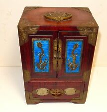 RARE CHINESE CLOISONNE REPOUSSE BLUE ENAMEL DRAGON WHITE JADE WOOD JEWELRY BOX