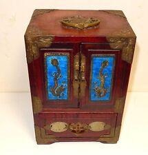 RARE CHINESE CLOISONNE REPOUSSE BLUE ENAMEL DRAGON WHITE JADE WOOD JEWELRY BOX