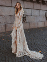 Sexy Women V-neck Backless Sequin Maxi Party Cocktail Ball Gown Evening Dress