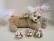 Vtg 1991 Hasbro Puppy Surprise Brown Dog Pregnant 3 Puppies Plush Stuffed
