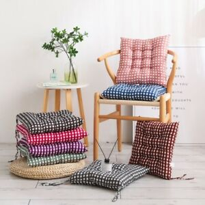 Booster Cushions Outdoor Dining Room Soft Cotton Square Chair Seat Pad Tie On