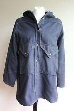 Vtg Mackintosh NY L Blue Wool Blend Snap Front Coat Jacket Hood