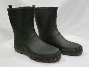 Men's waterproof soft toe green rubber utility garden boots size 11
