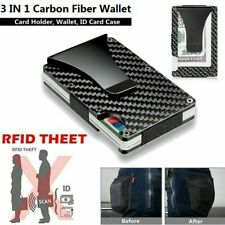 Mens Wallet RFID Blocking Carbon Fiber Minimalist Ridge Money Clip Front Pocket