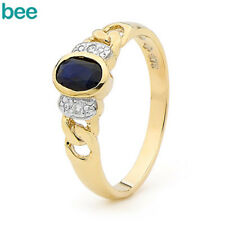 Natural Sapphire Diamond 9ct 9k Solid Yellow Gold Ring Size P 7.75 22727/s