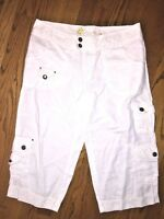 HIGH SIERRA Linen / Cotton WHITE Clam Digger CAPRI PANTS Shorts Womens Sz 8 ❤️