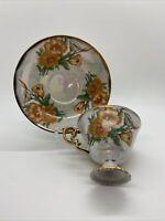 Vintage Ucago Japan August Poppy Gilded Luster Orange Floral Tea Cup/Saucer Set