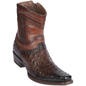 """Men's Los Altos Genuine Full Quill Ostrich Ankle Boots Square Toe 6"""" Shaft"""