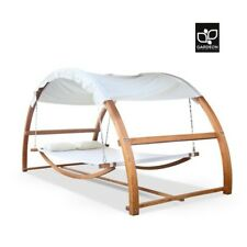 Gardeon Outdoor Furniture Double Timber Hammock Bed Canopy Wooden Swing Hammock