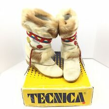 VTG TECNICA SKANDIA APRES WINTER SKI BOOTS GOAT HAIR FUR ITALY EU 38 US 7 W/Box