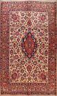 Vintage Kashmar Floral Hand-knotted Area Rug Ivory Oriental Wool Carpet 8'x12'