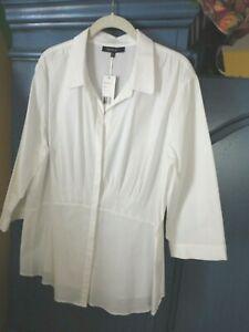 Lafayette 148 New York White Stretch Peplum Shirt 16 18 XL XXL 3/4 sleeve
