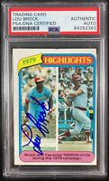 Lou Brock auto card 1980 Topps #1 MLB St. Louis Cardinals PSA Encapsulated