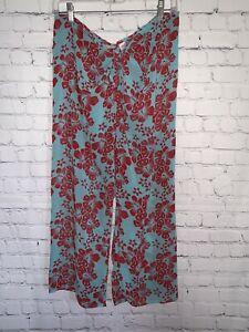 ~VICTORIAS SECRET~FLORAL~RED TEAL~SHEER SWIMSUIT PANTS COVER TIE FRONT SIZE M